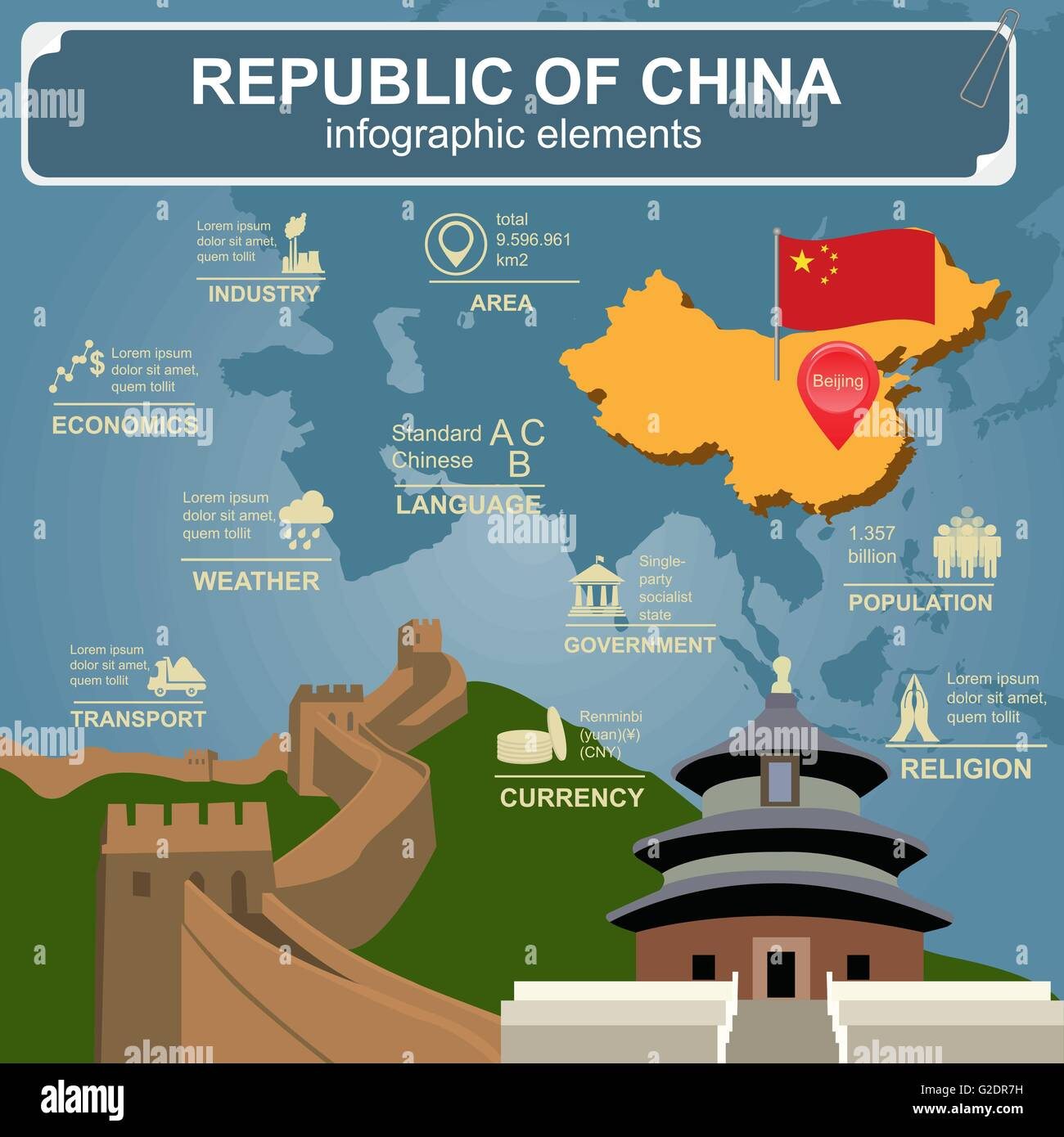 Republic of China  infographics, statistical data, sights. Vector illustration - Stock Image