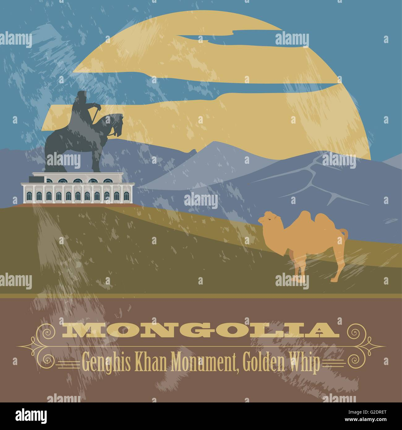 Mongolia. Retro styled image. Vector illustration Stock Vector