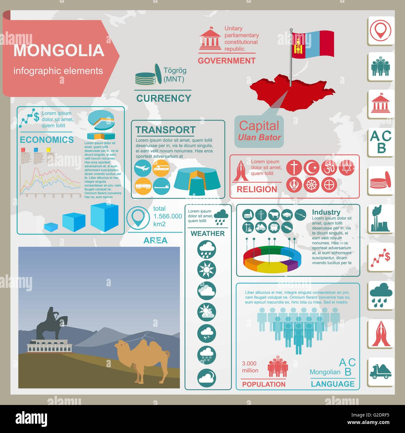 Mongolia  infographics, statistical data, sights. Vector illustration - Stock Vector