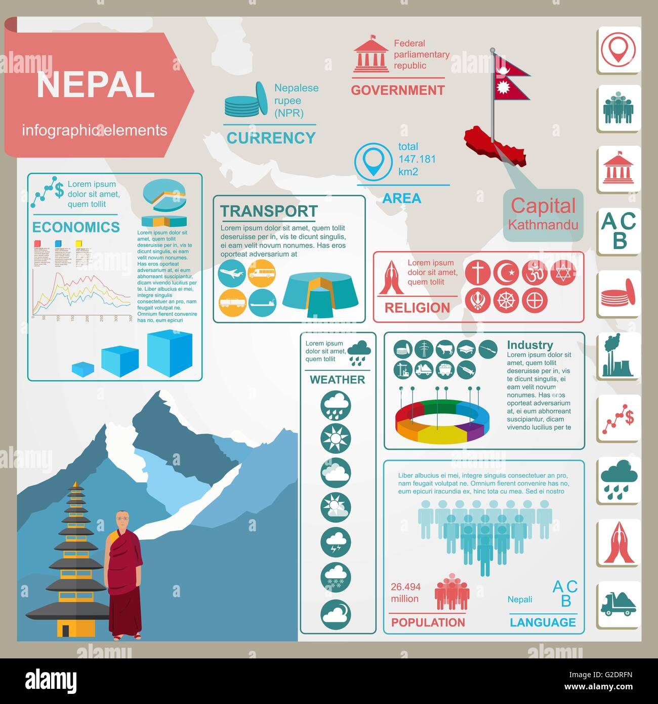 Nepal  infographics, statistical data, sights. Vector illustration - Stock Vector