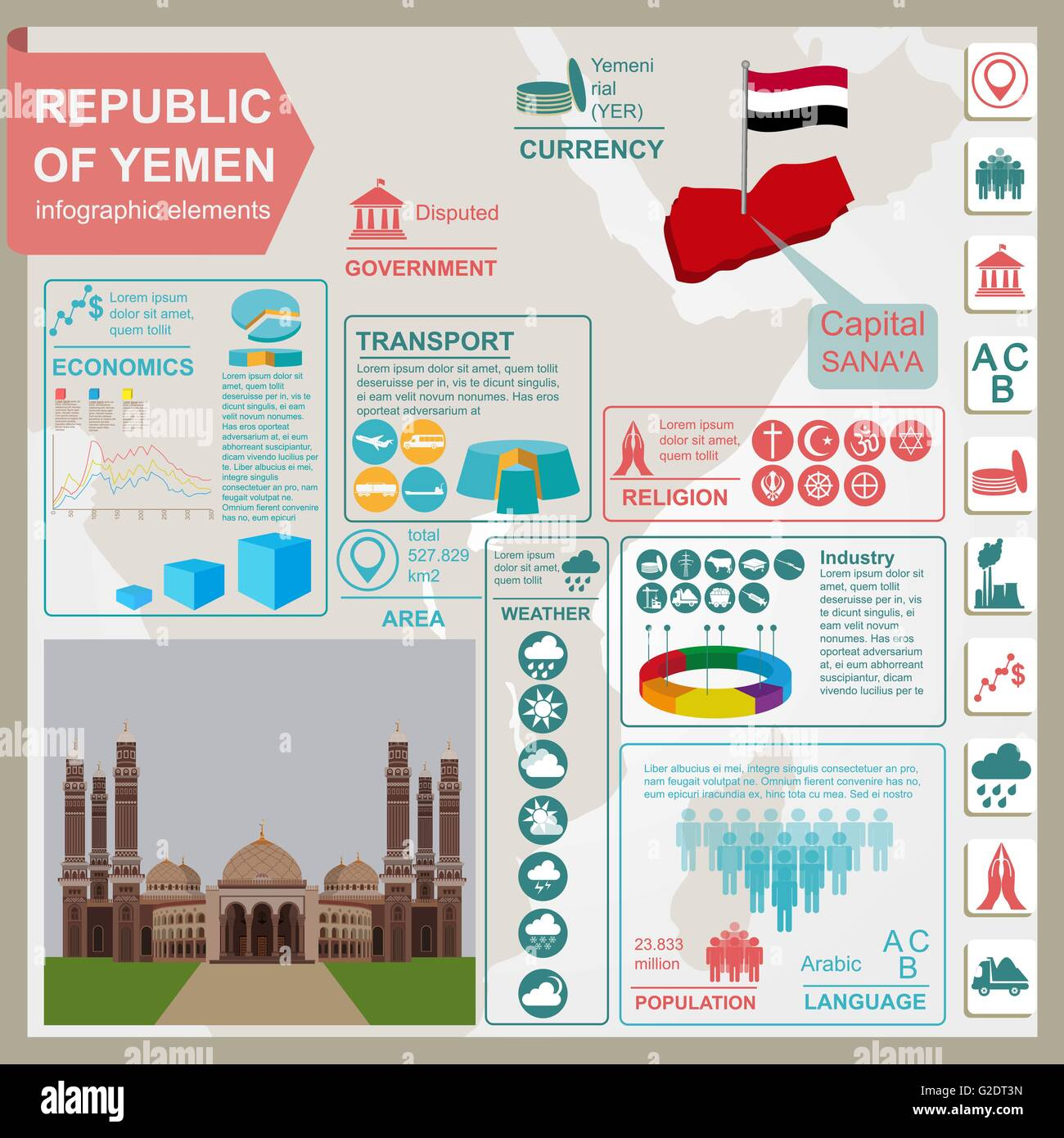 Yemen  infographics, statistical data, sights. Vector illustration Stock Vector