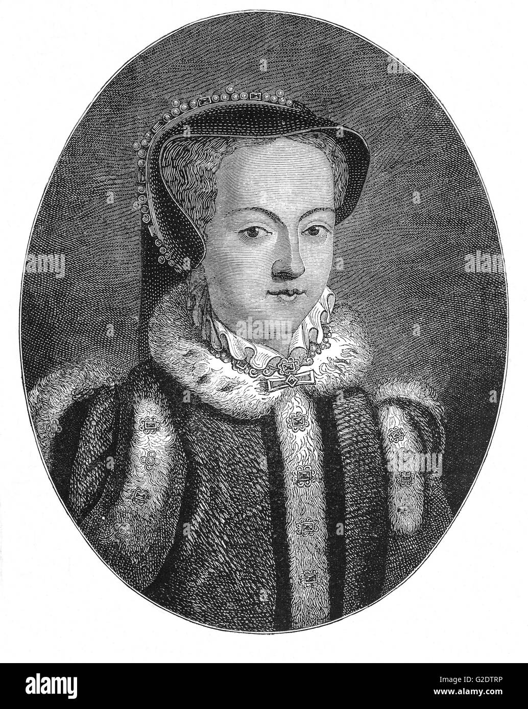 Queen Mary I (1516 – 1558) was the only child of Henry VIII and his first wife Catherine of Aragon to survive to - Stock Image