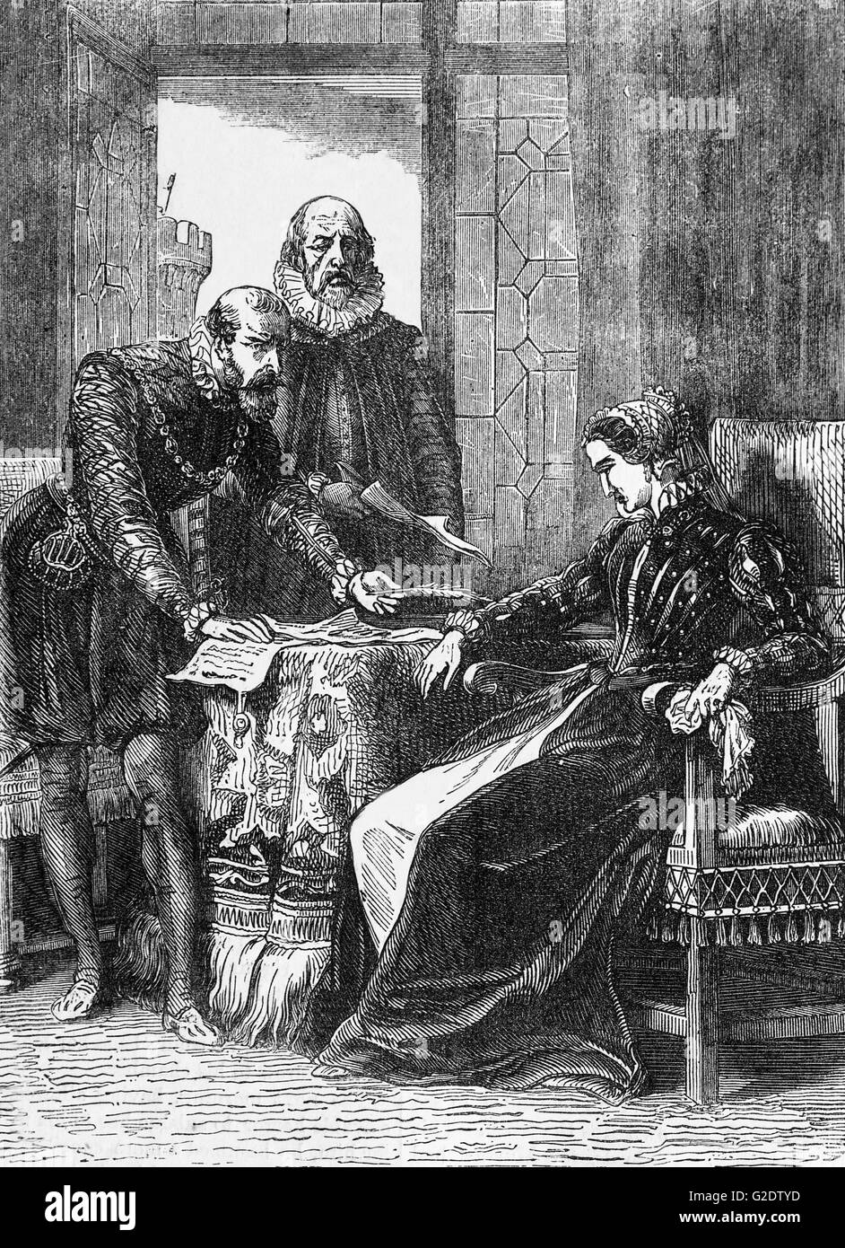 Mary, Queen of the Scots, aka Mary Stuart signing her 1567 resignation and abdication in Lochleven Castle, on an Stock Photo