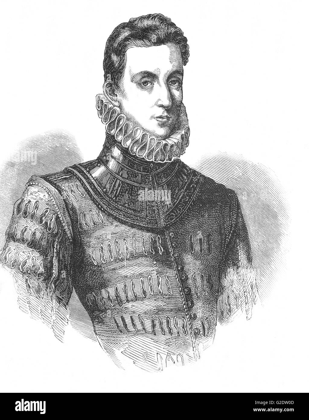 Sir Philip Sidney (1554 – 1586) was an English poet, courtier, scholar, and soldier, who is remembered as one of - Stock Image