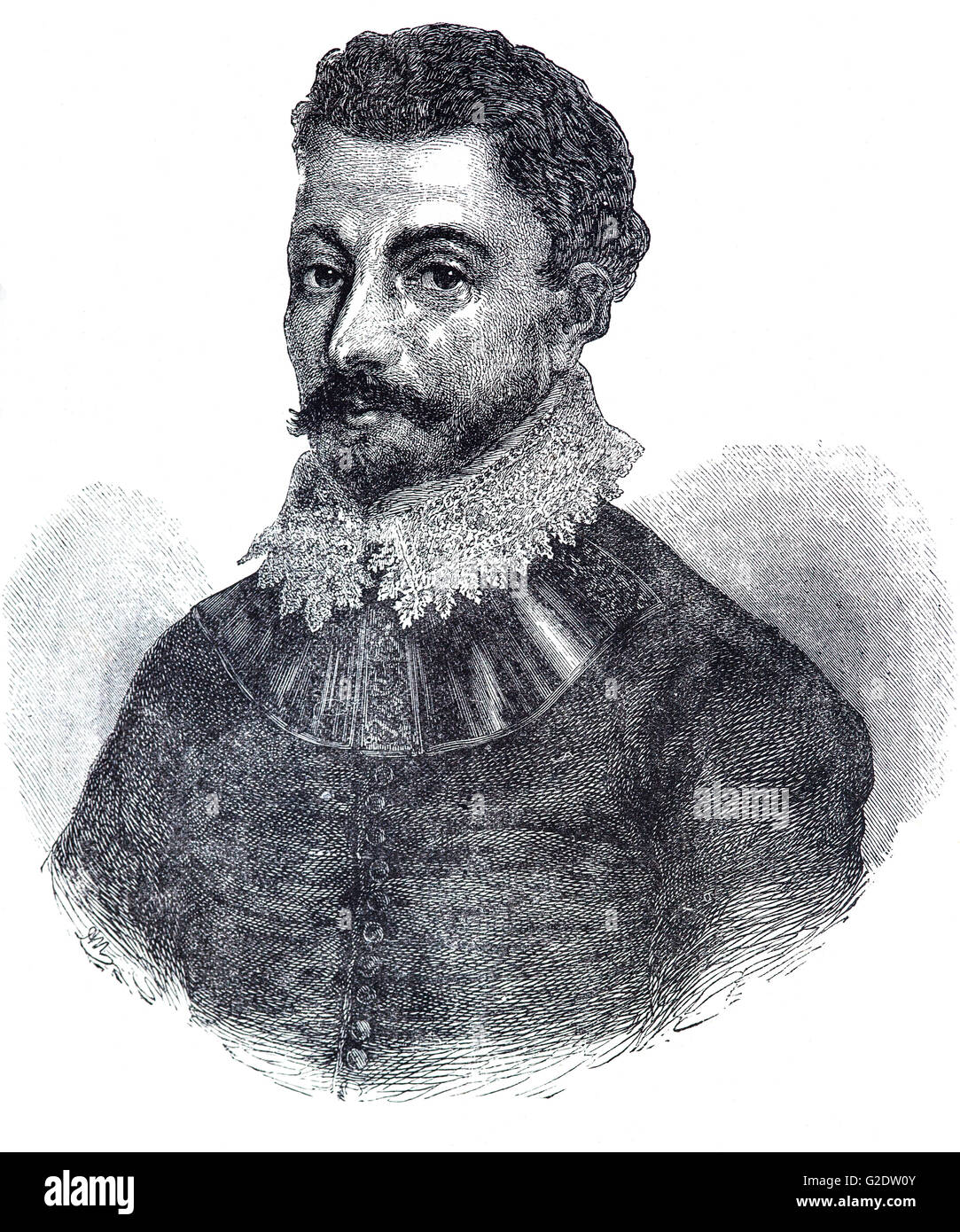 Sir Francis Drake, (1540 – 1596) was an English sea captain, privateer, navigator, slaver, and politician of the - Stock Image