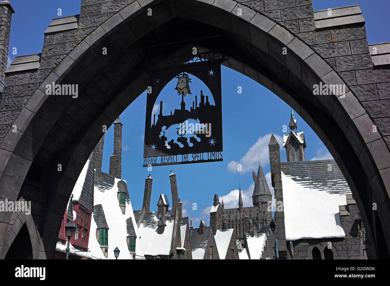Entrance to Harry Potter World, Universal Studios California Stock Photo