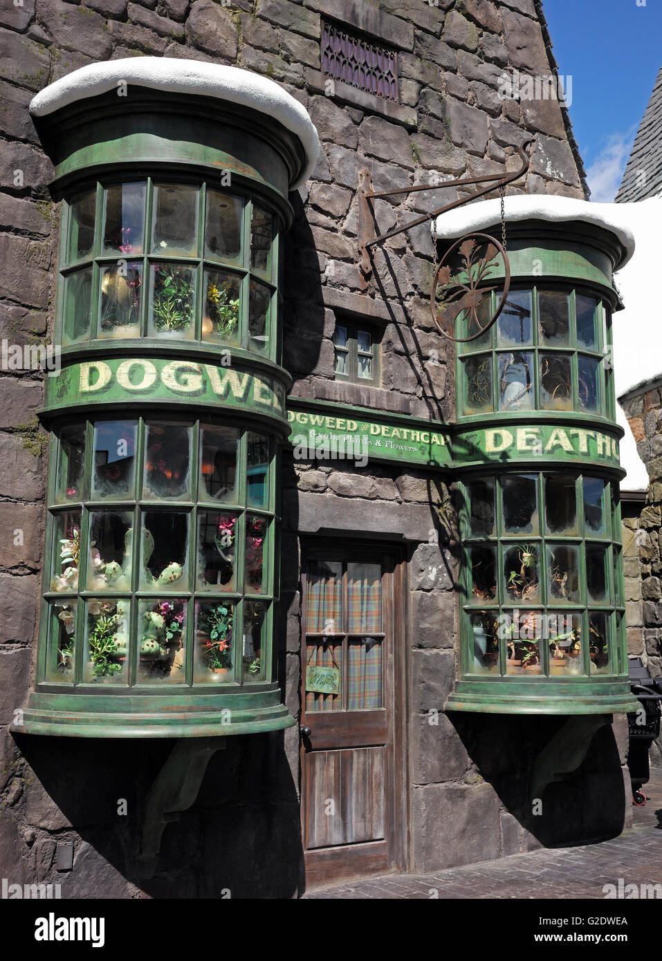 Dogweed Death shop at Harry Potter World, Universal Studios in California. Stock Photo