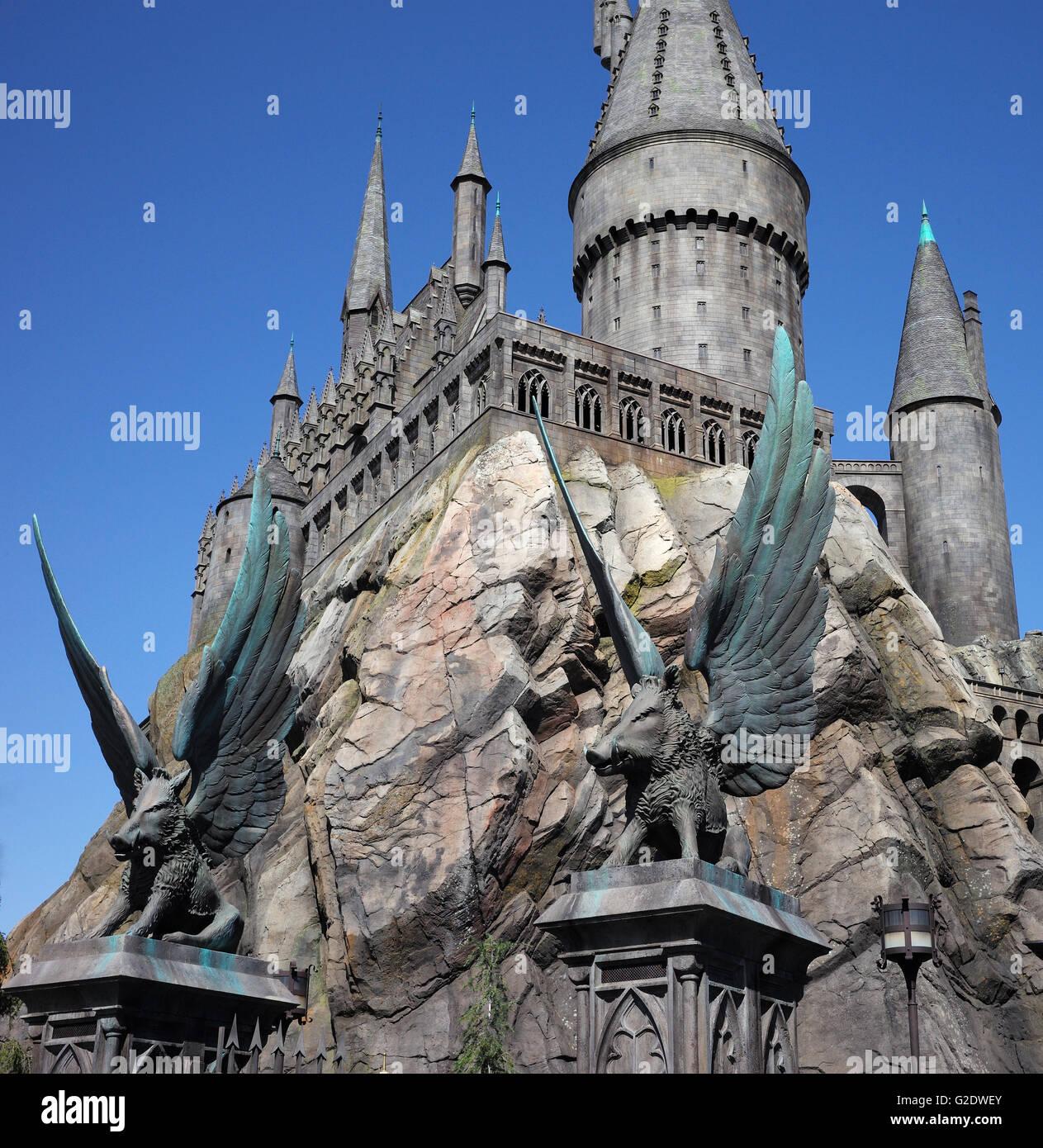 Hogwarts castle at Universal Studios Hollywood California - Stock Image