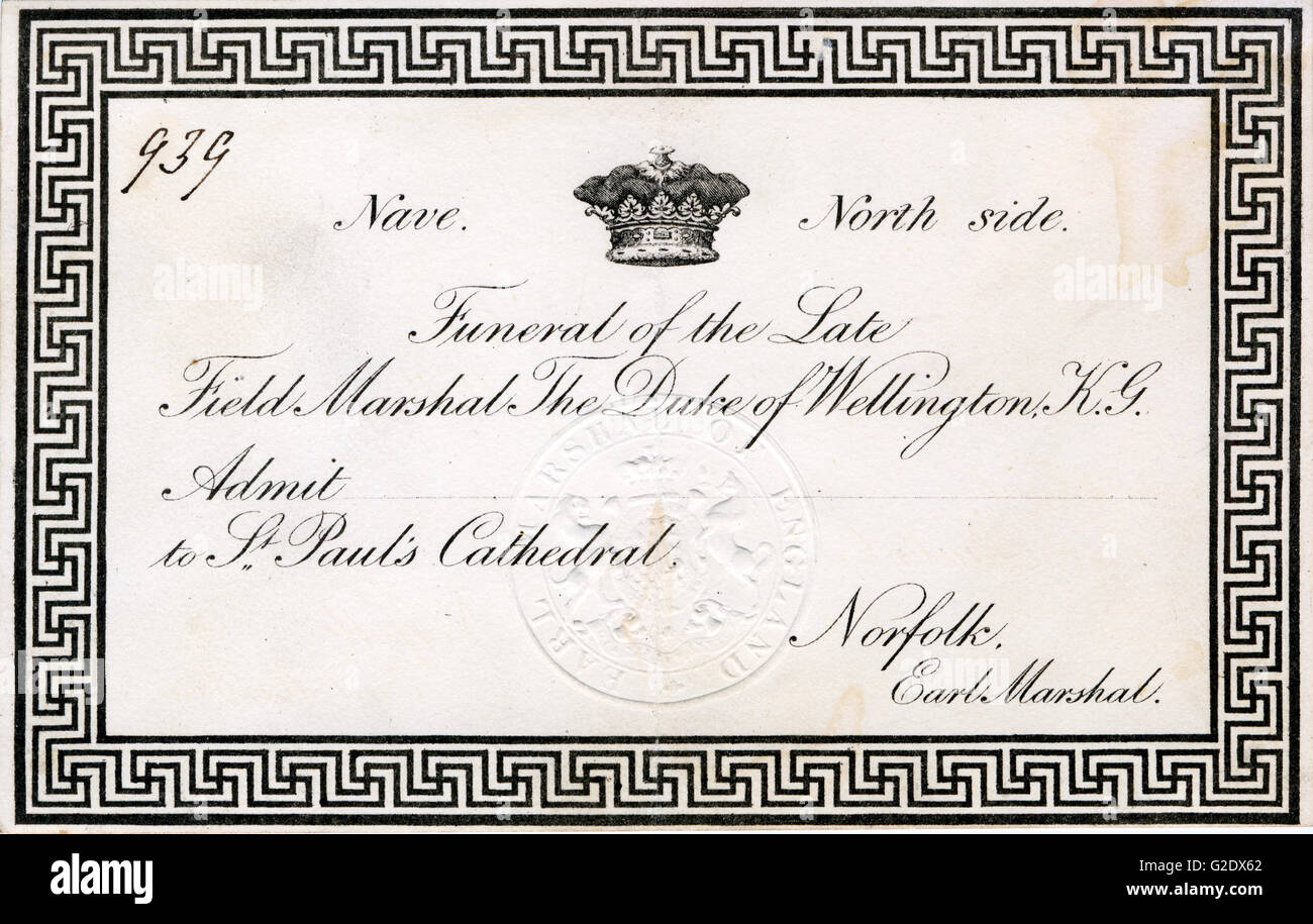 Duke of Wellington, Funeral Invitation, 1852 card for the state funeral of the Victor of Waterloo at St Pauls Cathedral - Stock Image