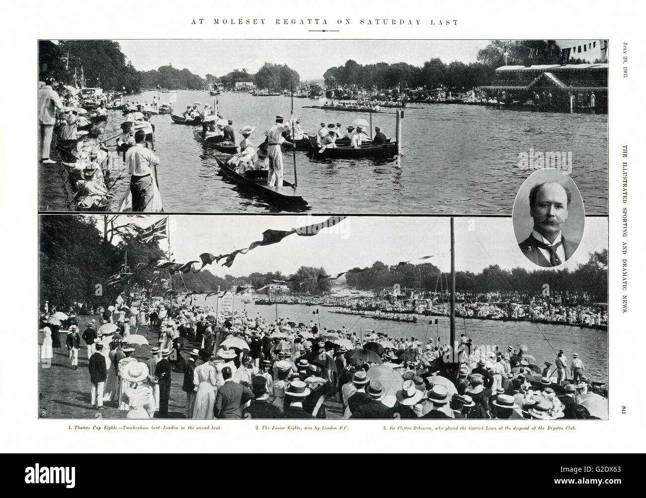 Molesey Regatta, 1905 magazine spread of the rowing races on the River Thames for the cream of Edwrdaian Society. Stock Photo