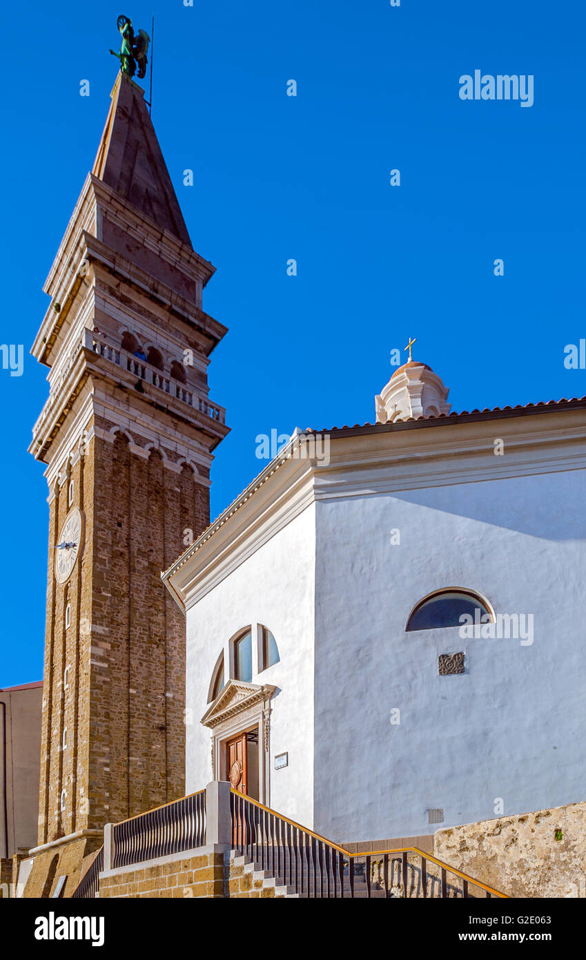 Slovenia Coast and Kras Piran - St George cathedral Stock Photo