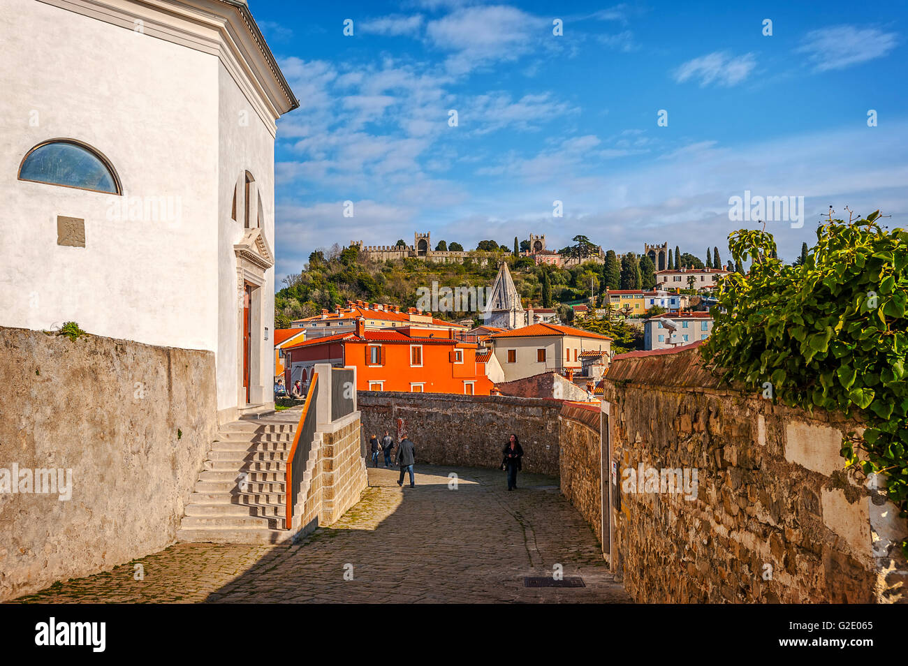 Slovenia Coast and Kras Piran -the cathedral of St George Stock Photo