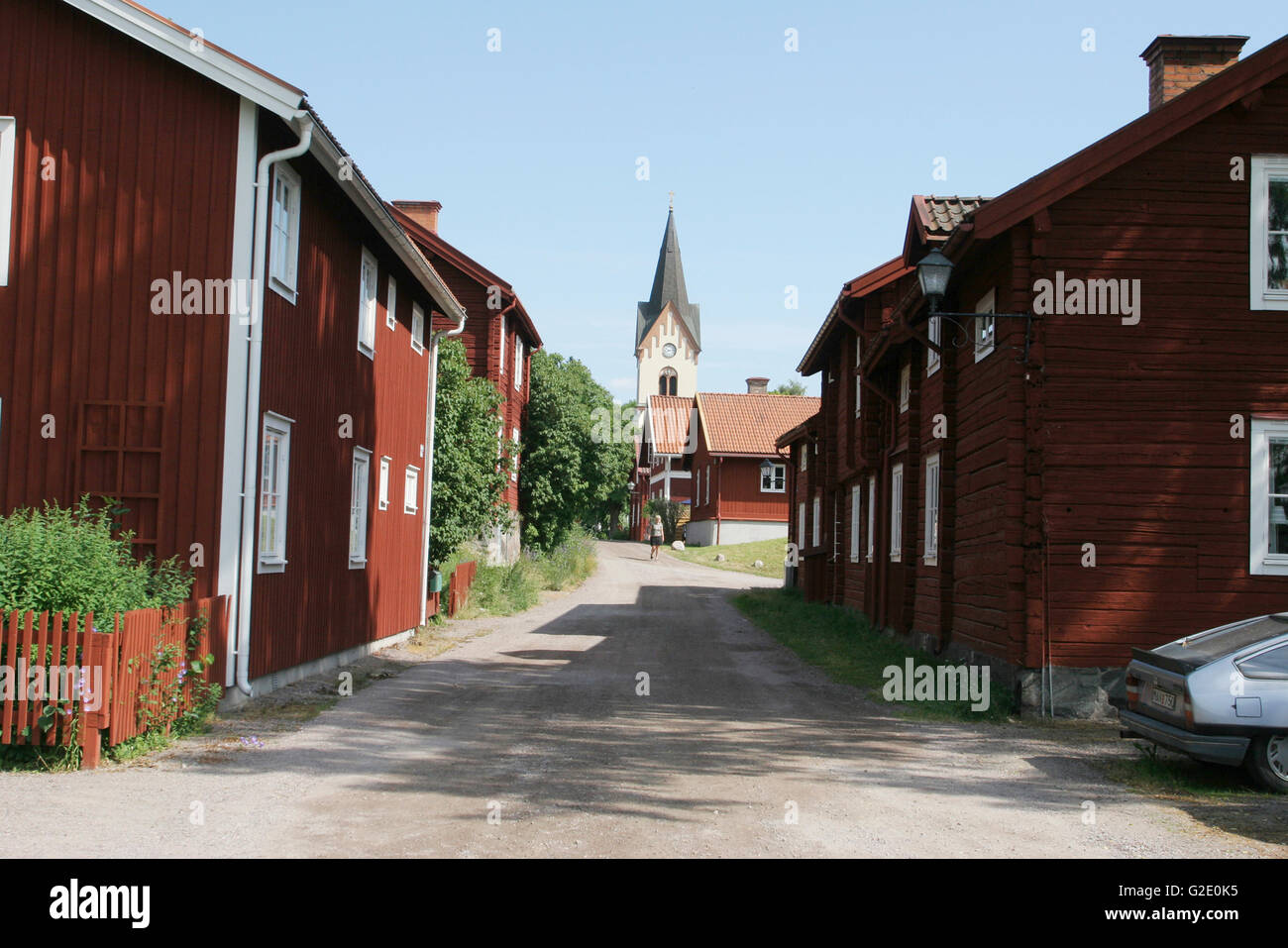 Ironworks workers old wooden houses - Stock Image