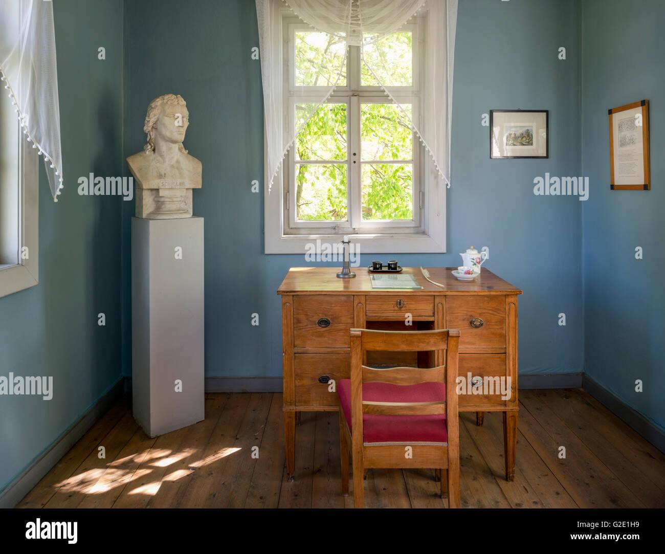 Study in Schiller's Gartenzinne, the garden house of Friedrich Schiller, Museum, Jena, Thuringia, Germany - Stock Image