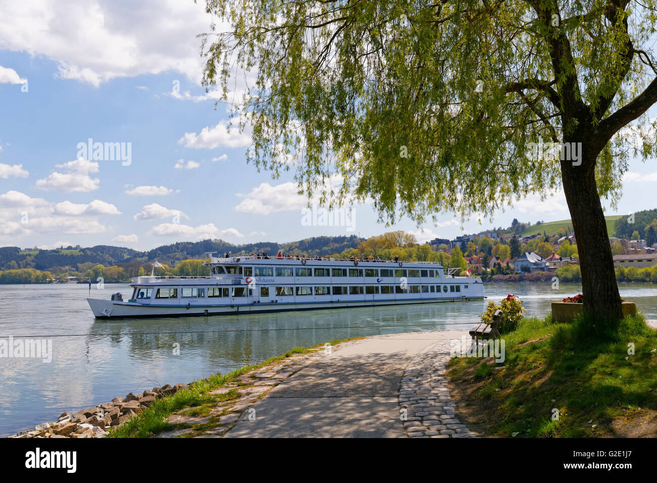 Excursion boat, estuary from Inn into the Danube, Passau, Lower Bavaria, Bavaria, Germany - Stock Image