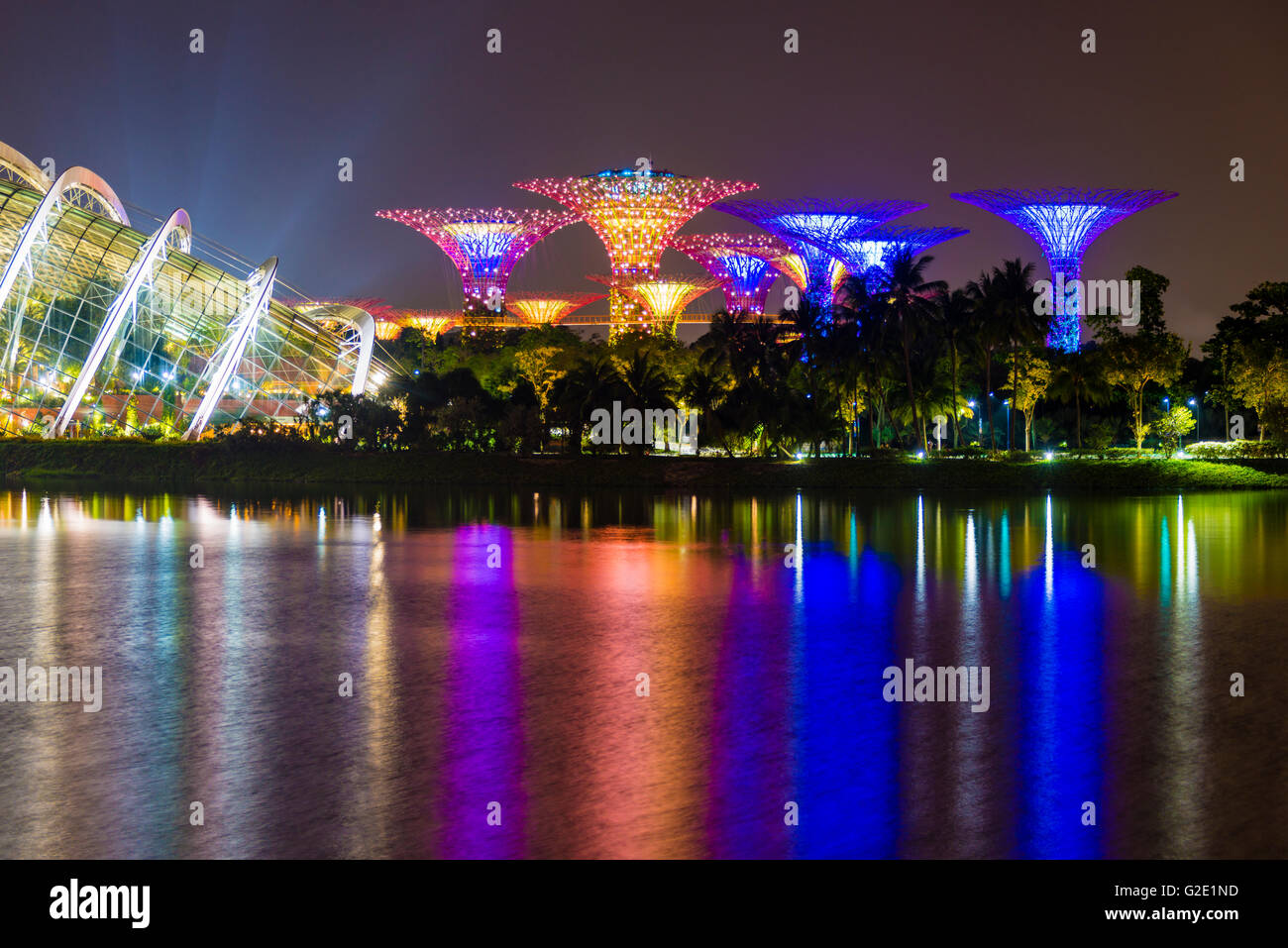 Water Reflection at night, Super Trees, Flower Dome, Gardens by the Bay, Marina Bay, Downtown Core, Singapore - Stock Image