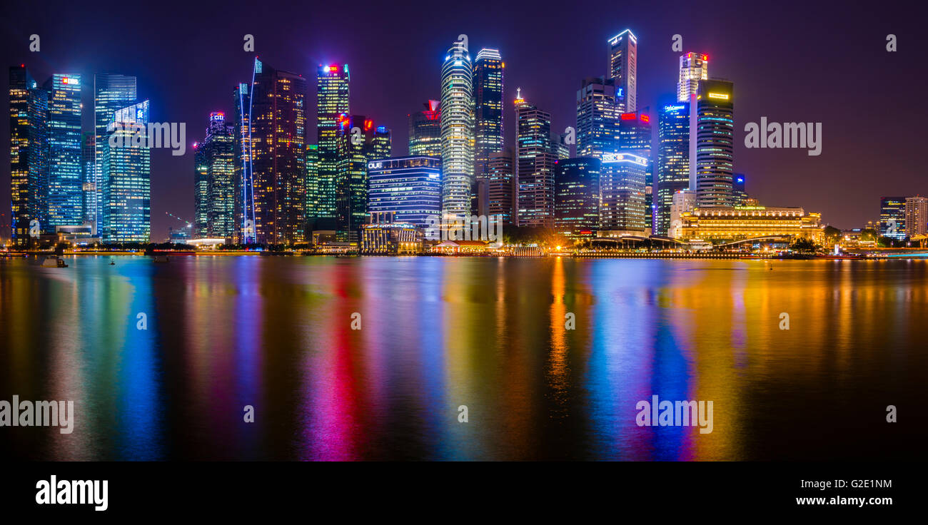 Skyline, Night Scene, Downtown, Financial District, Central Business District, Marina Bay, Downtown Core, Singapore Stock Photo