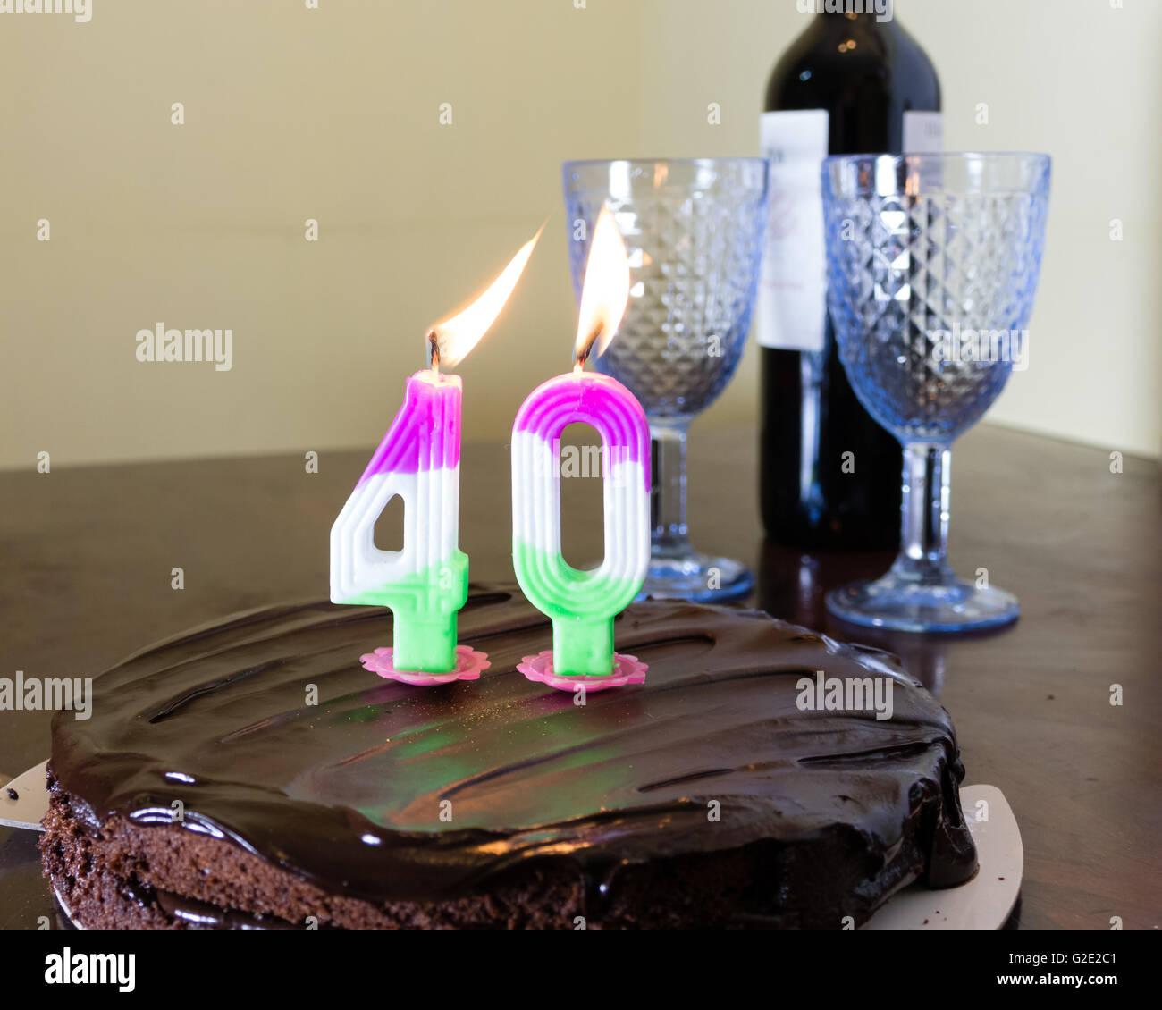 Chocolate Birthday Cake With Burning 40 Candle