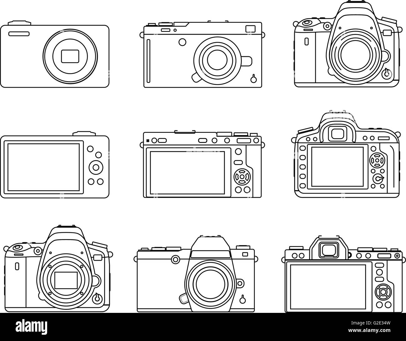 Different type camera icons - Stock Vector