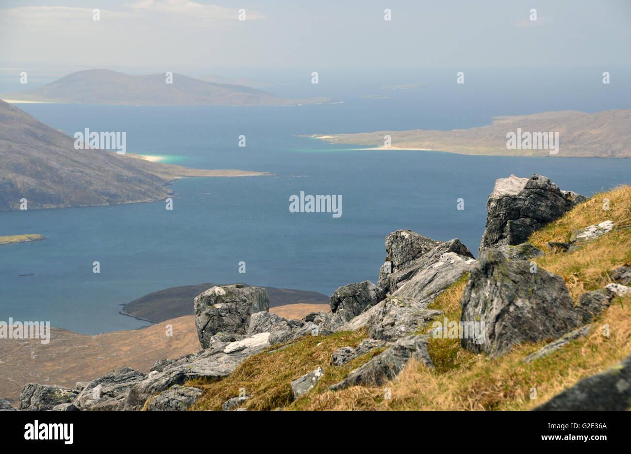 Loch a' Siar and the Sound of Taransay from the Corbett An Cliseam (Clisham) North Harris, Western Isles, Scotland - Stock Image