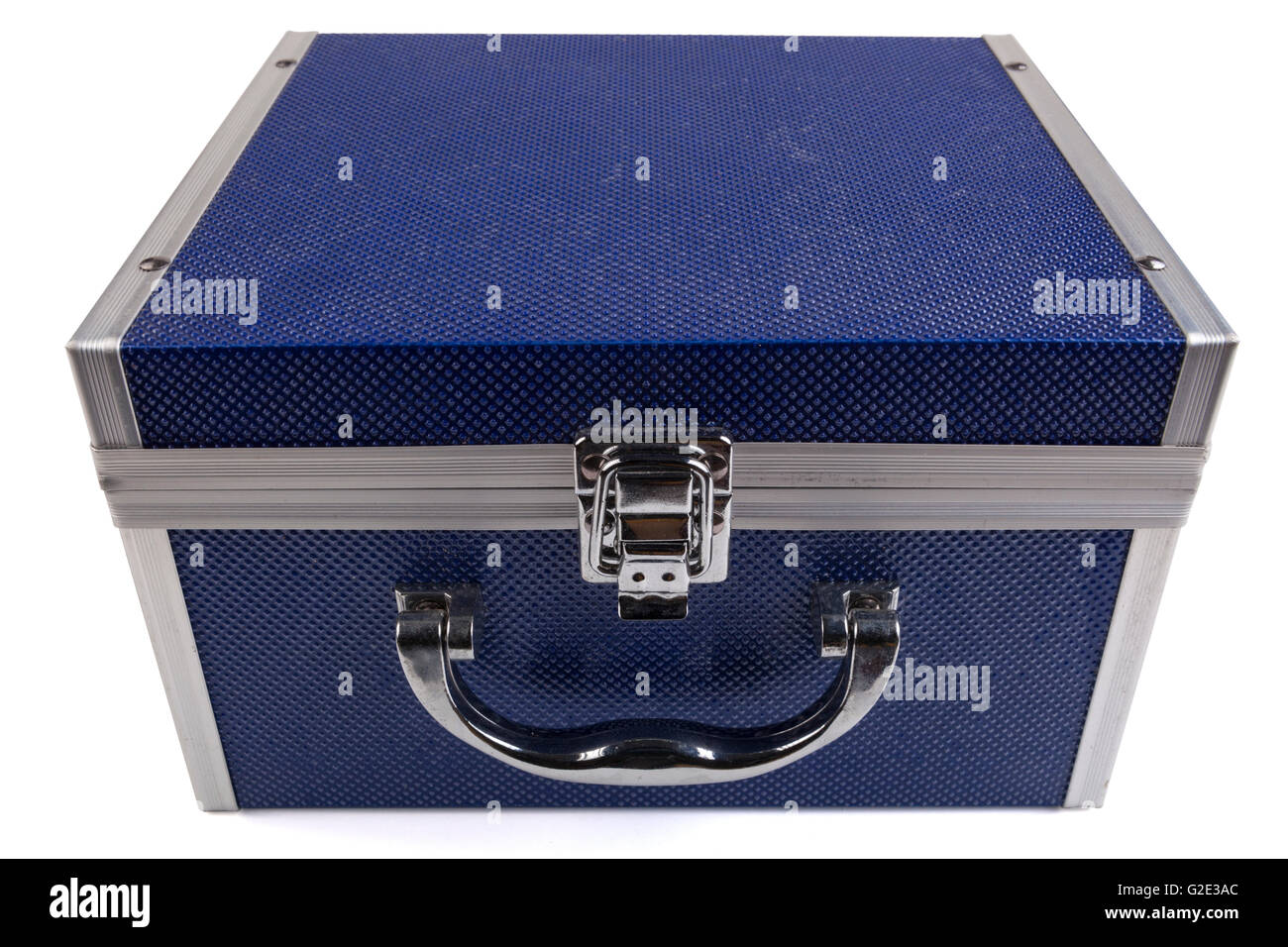 Blue jewelry box closed top view and isolated on white background - Stock Image