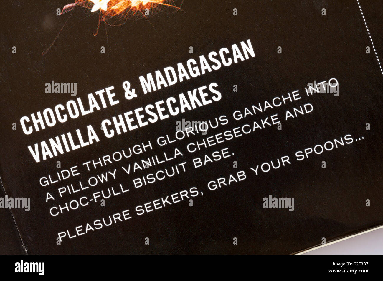pleasure seekers grab your spoons - information on box of Gu Chocolate & Madagascan Vanilla Cheesecakes - Stock Image