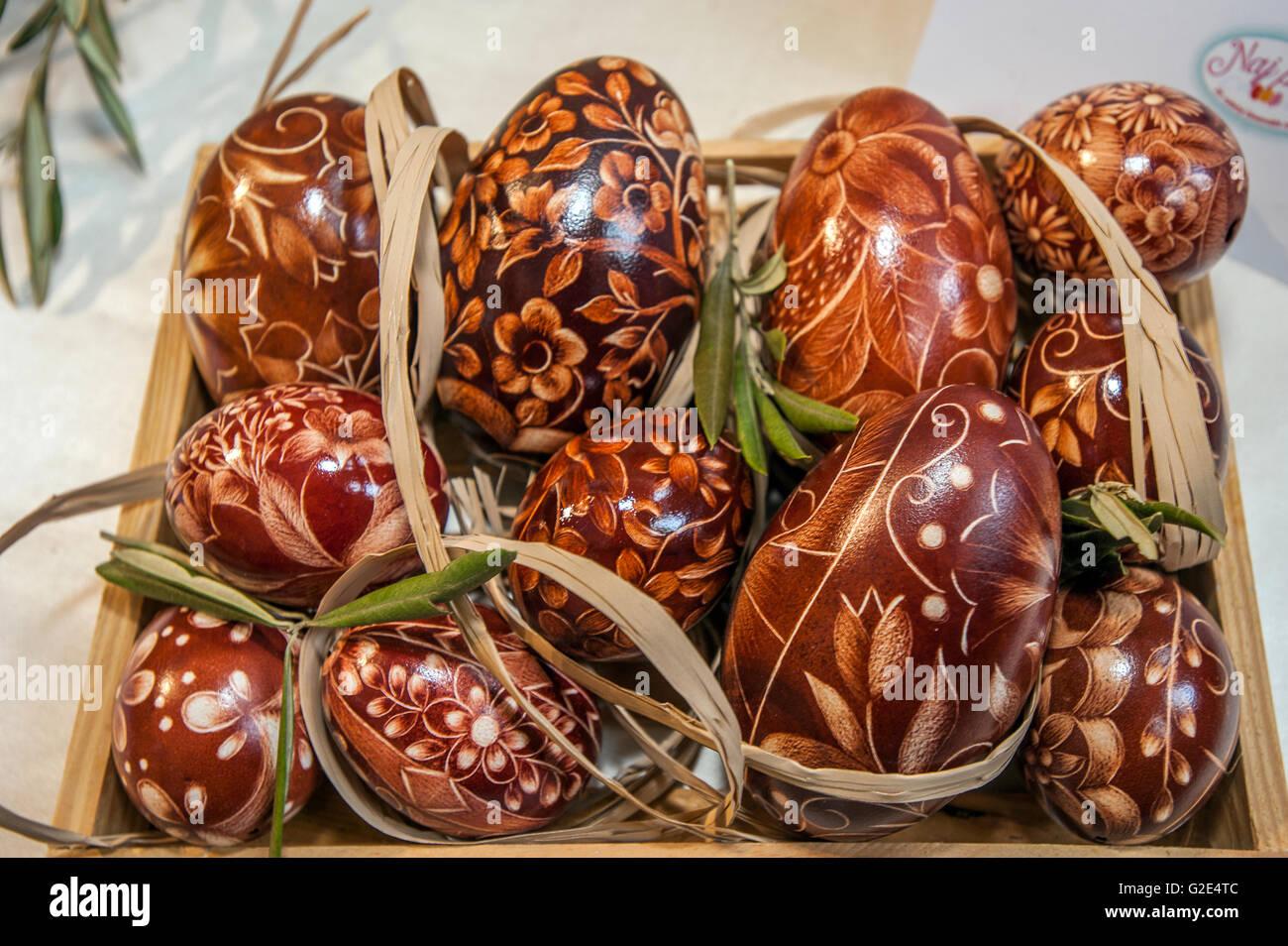 Slovenia LJubljana Exibition of artwork with  Eggs for Easter - Stock Image