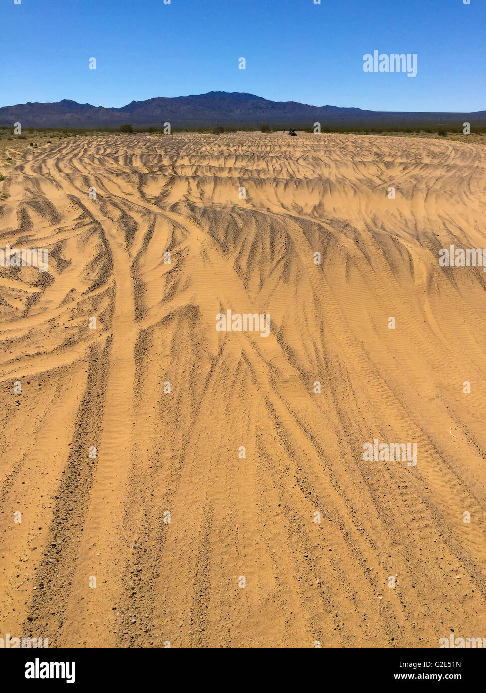 tire tracks in the desert in Nevada with a mountain range in the background and sky beyond - Stock Image