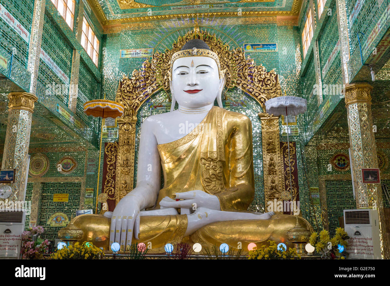 Ornate statue in temple, Pagodas, Old Temple Architecture, Myanmar, Burma, South Asia, Asia Stock Photo