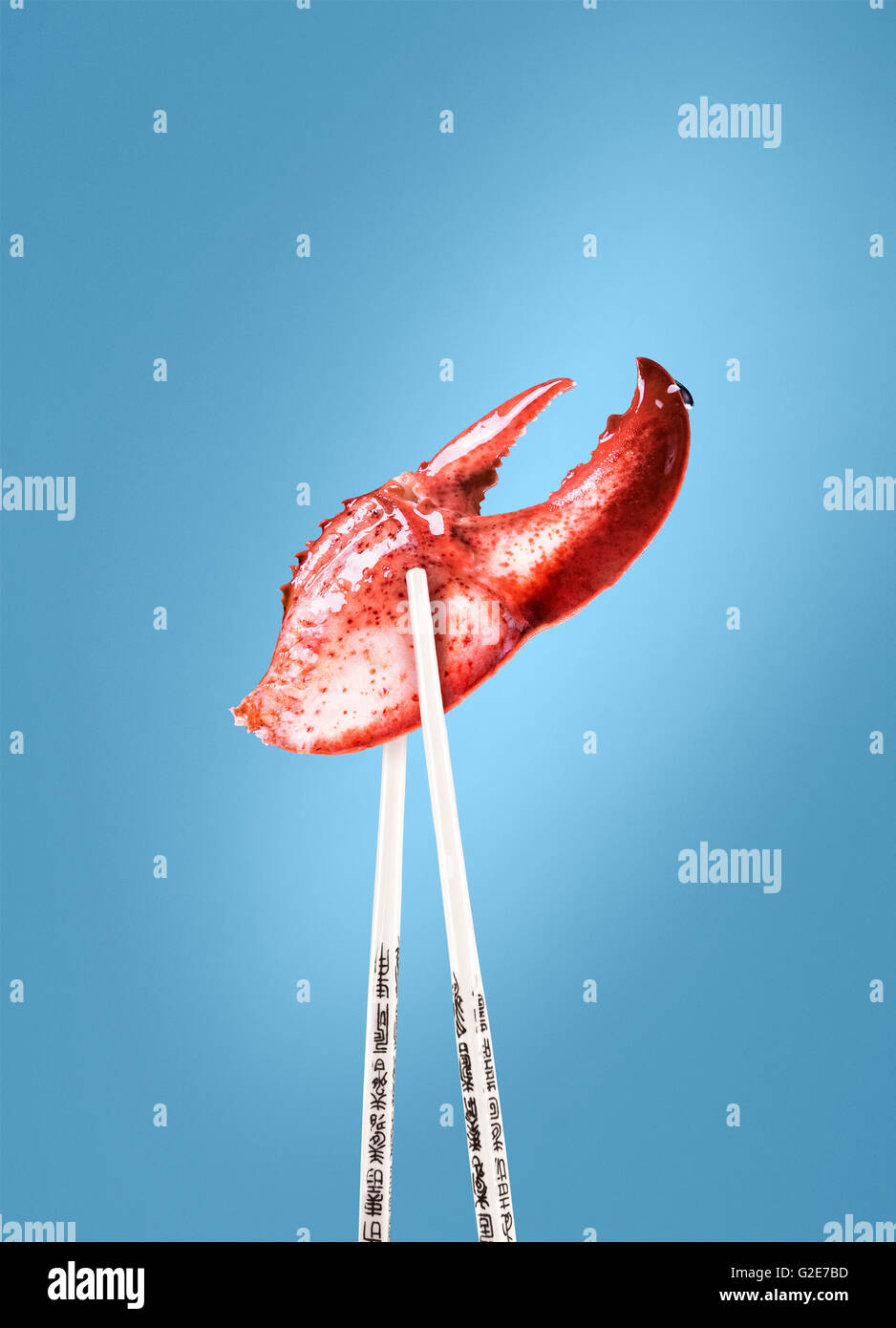 Lobster Claw Between Chopsticks - Stock Image