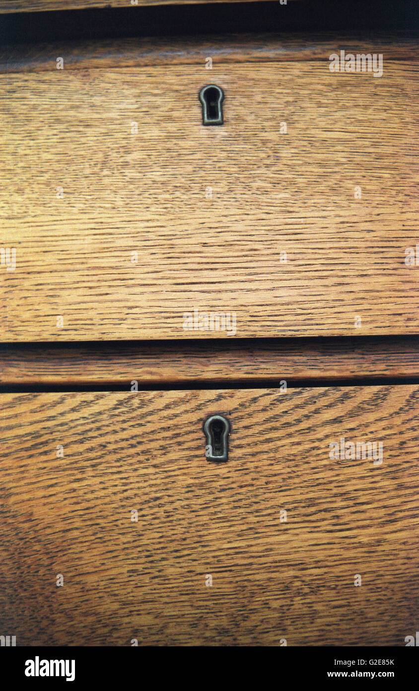 Two Wooden Drawers with Key Holes - Stock Image
