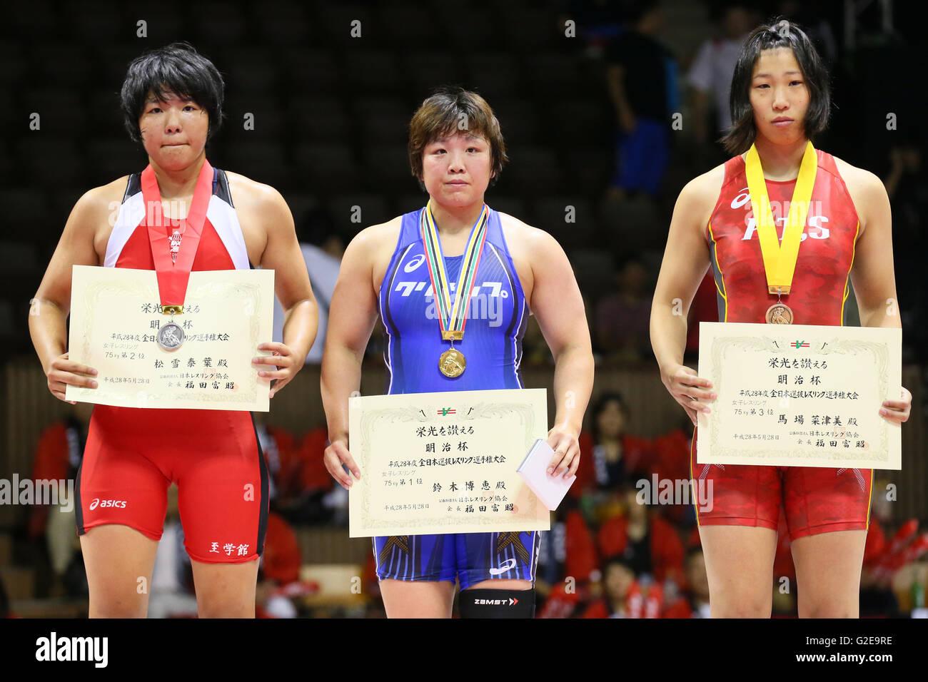 nd Yoyogi Gymnasium, Tokyo, Japan. 28th May, 2016. (L to R) Yasuha Matsuyuki, Hiroe Suzuki, Natsumi Baba, MAY 28, Stock Photo