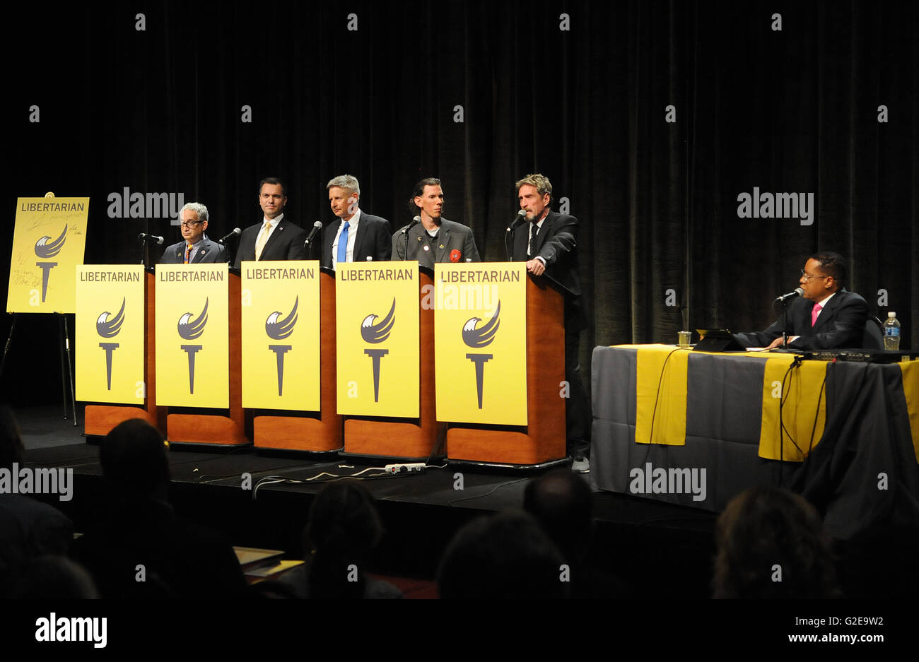 Orlando, Florida, USA. 28th May, 2016. Libertarian party presidential candidates (from left) Marc Allan Feldman, - Stock Image
