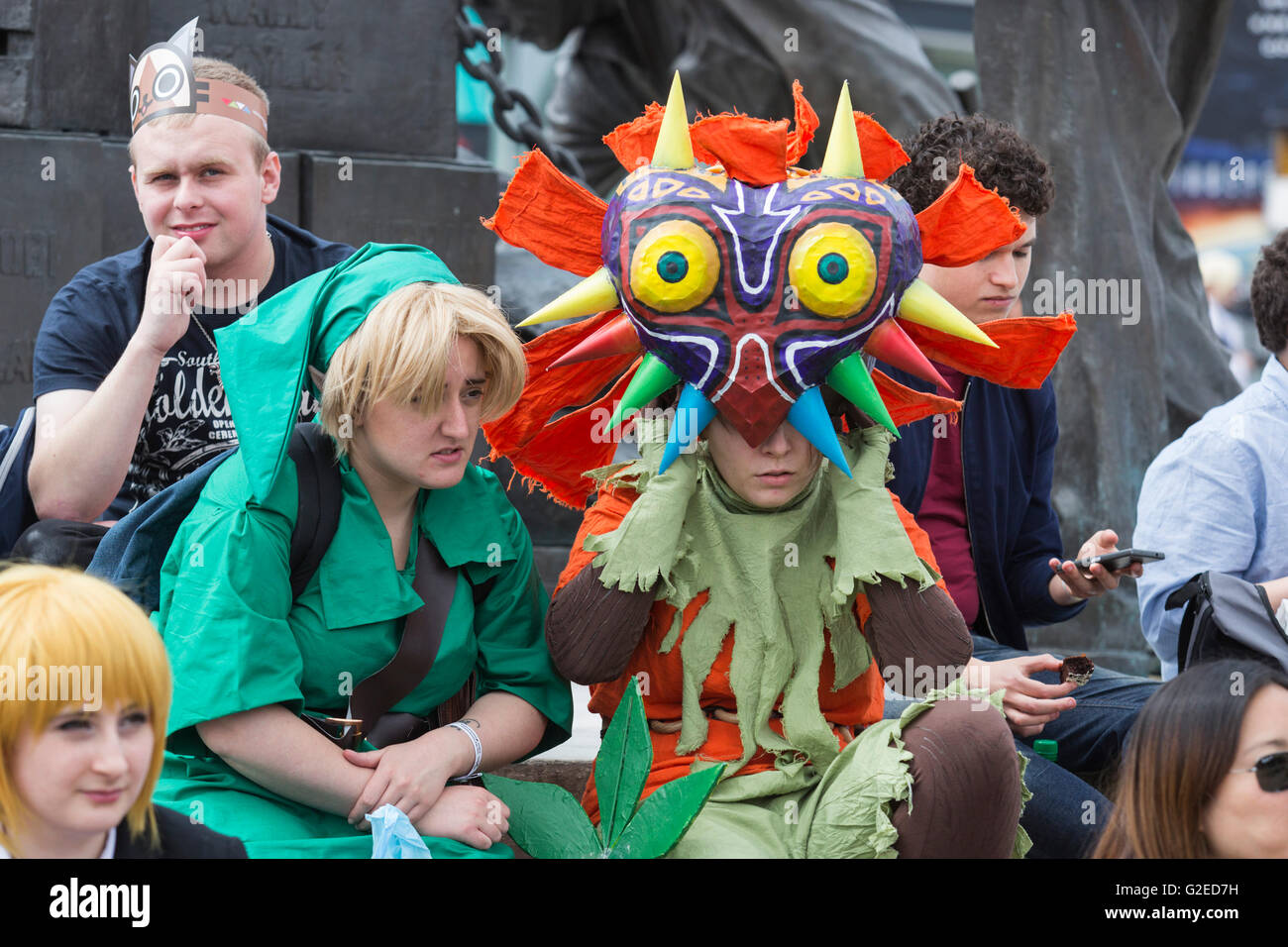 London, UK. 29 May 2016. Cosplayers outside the venue. Last day of the MCM London ComicCon at Excel Exhibition Centre. - Stock Image