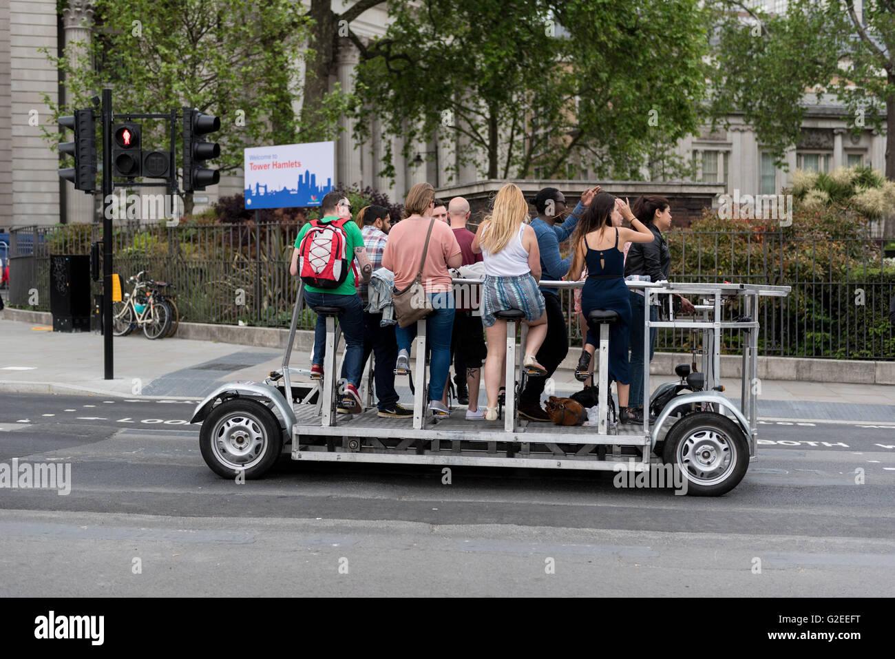 London, UK.  29 May 2016.  A slow moving, environmentally friendly vehicle, running on human pedal-power, passes - Stock Image