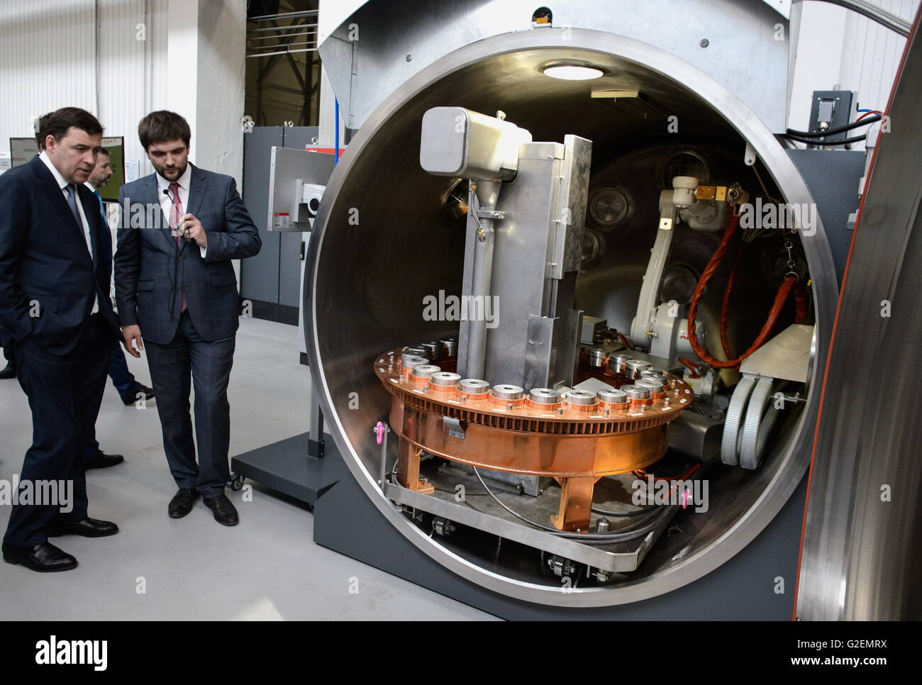 YEKATERINBURG, RUSSIA - MAY 20, 2016: Evgeny Kuivashev (left), Governor of the Sverdlovsk region, at the opening - Stock Image