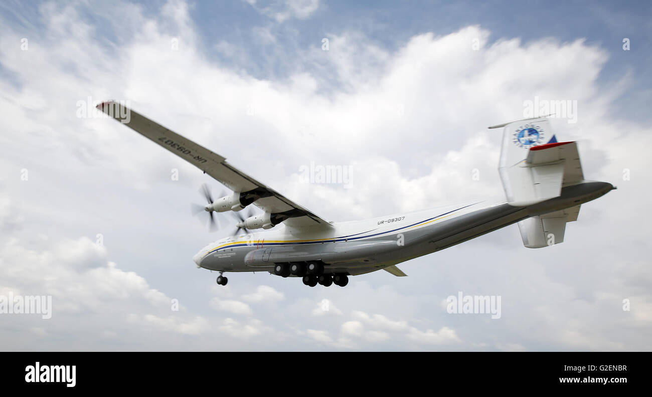 May 30, 2016 - The renovated Antonov An-22 ''Antei'' takes off the Svyatoshyn airport in Kiev, May - Stock Image