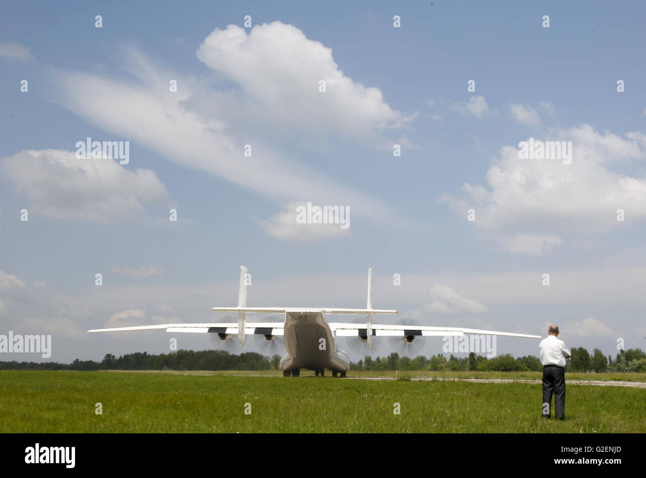 May 30, 2016 - The renovated Antonov An-22 ''Antei'' is seen at the Svyatoshyn airport in Kiev, - Stock Image
