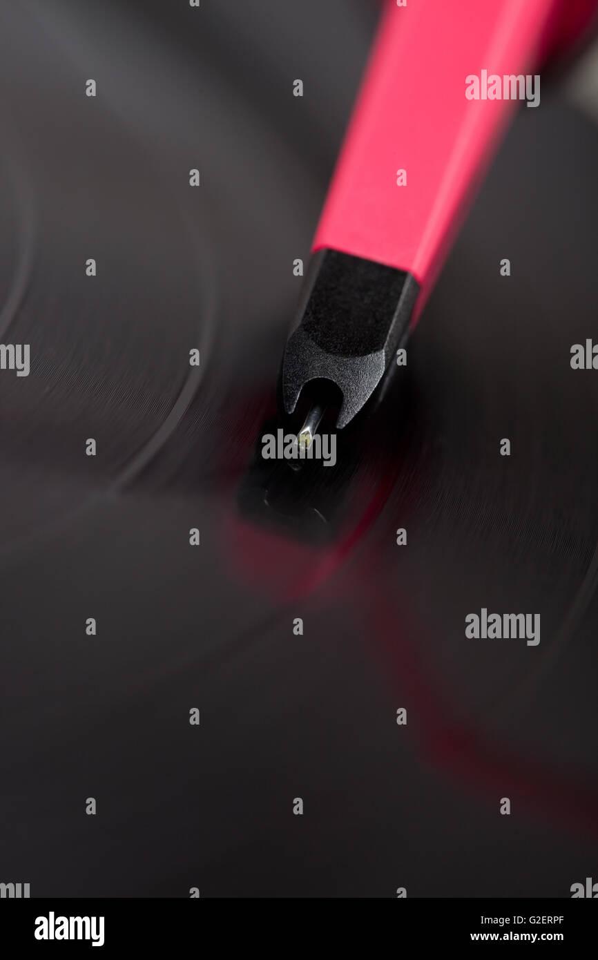 needle on vinyl, party background - Stock Image