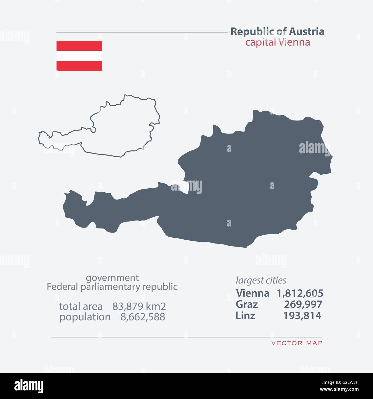 Republic Of Austria Isolated Maps And Official Flag Icon. Vector Austrian  Political Map Icons With General Information. European