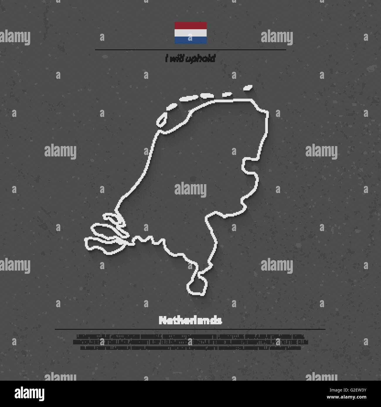 Kingdom of the Netherlands isolated map and official flag icons. vector Dutch political map thin line icon. EU geographic - Stock Vector