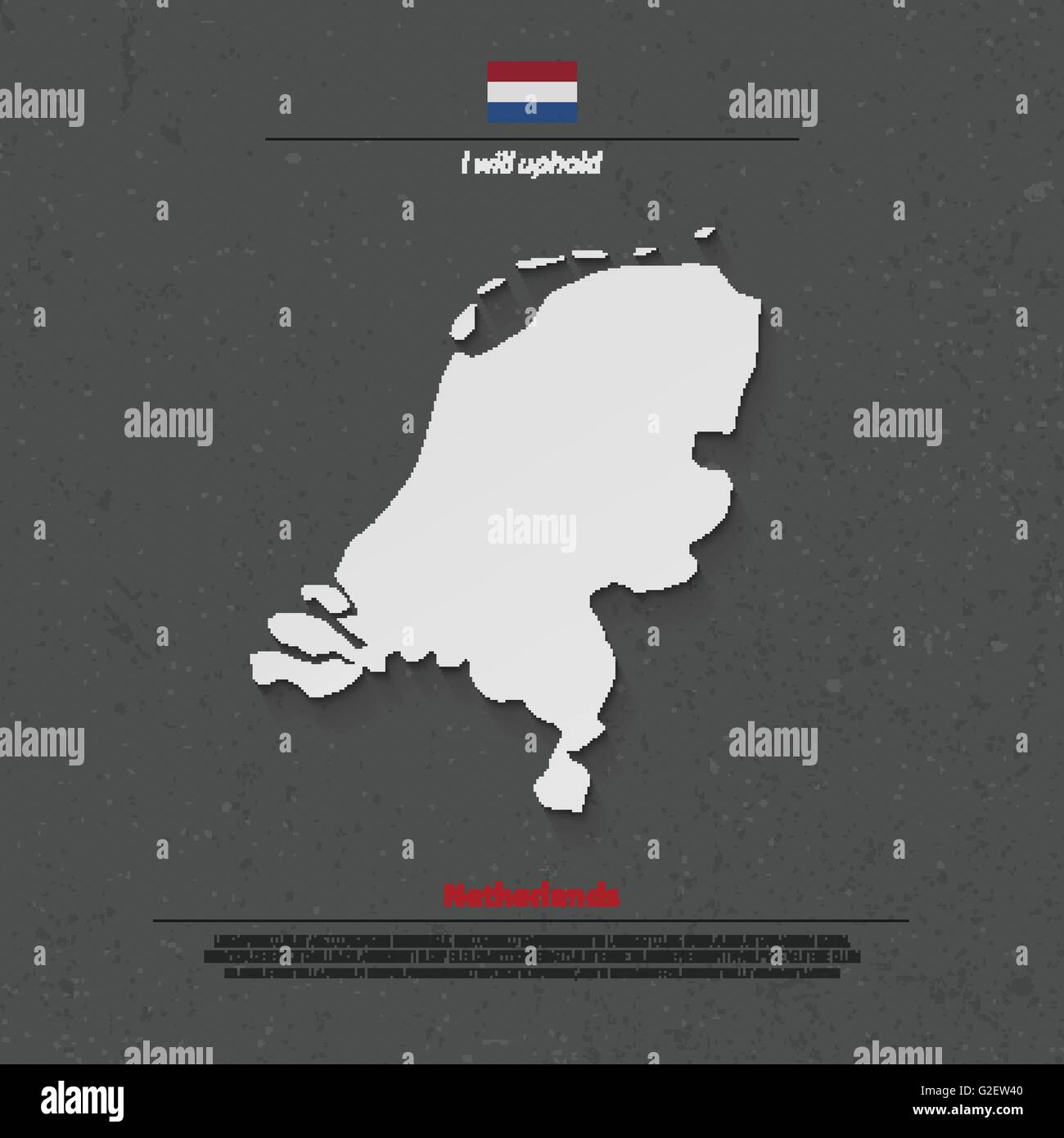 Kingdom of the Netherlands isolated map and official flag icons. vector Dutch political map 3d illustration. EU - Stock Vector
