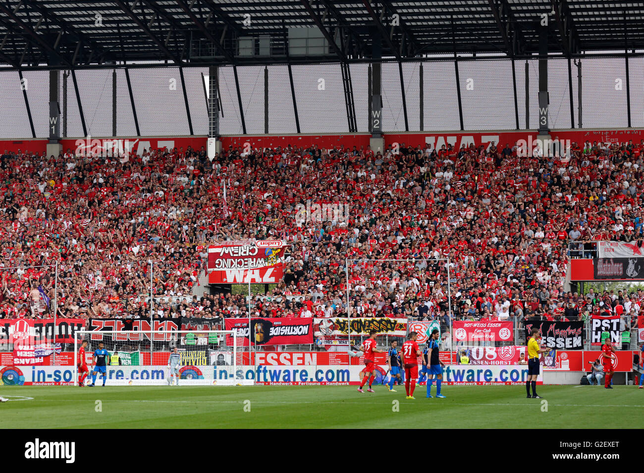 sports, football, Lower Rhine Cup, 2015/2016, final, Rot Weiss Essen versus Wuppertaler SV 3:0, Stadium Essen, Hafenstrasse, - Stock Image