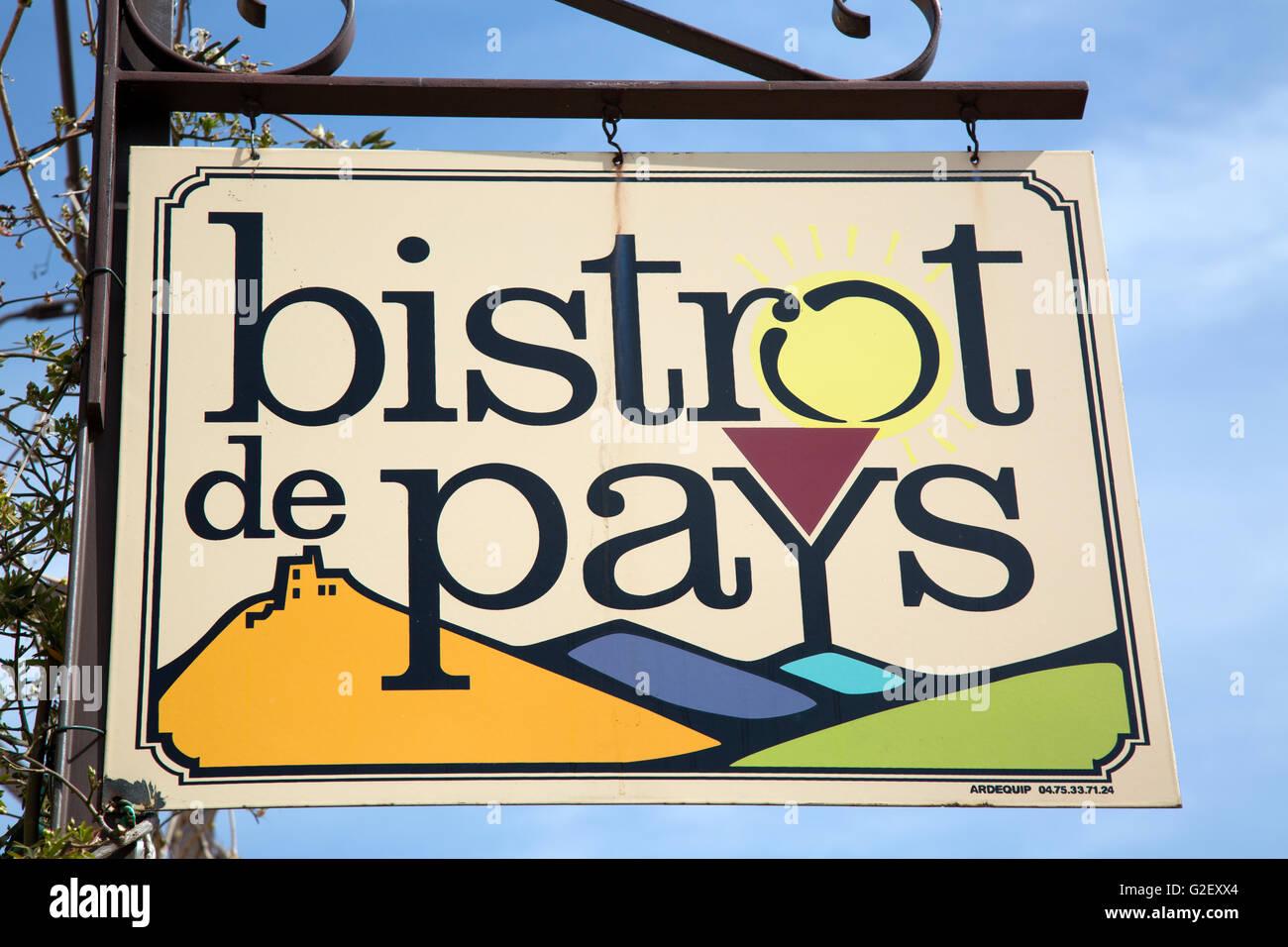 Bistrot de Pays Restaurant Sign, Provence, France, Europe - Stock Image
