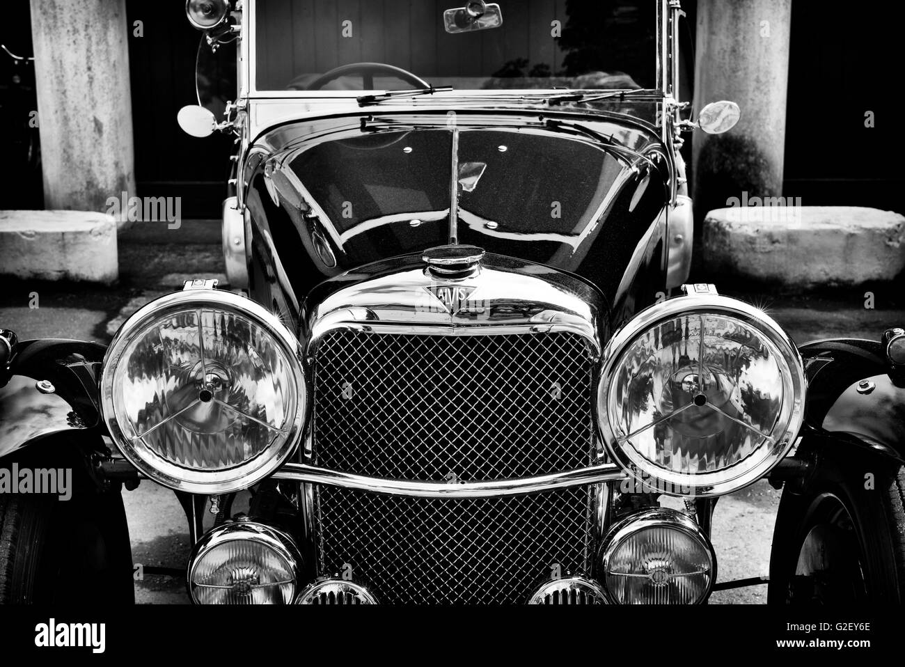 Vintage Alvis car at Bicester Heritage Centre. Oxfordshire, England. Black and White - Stock Image