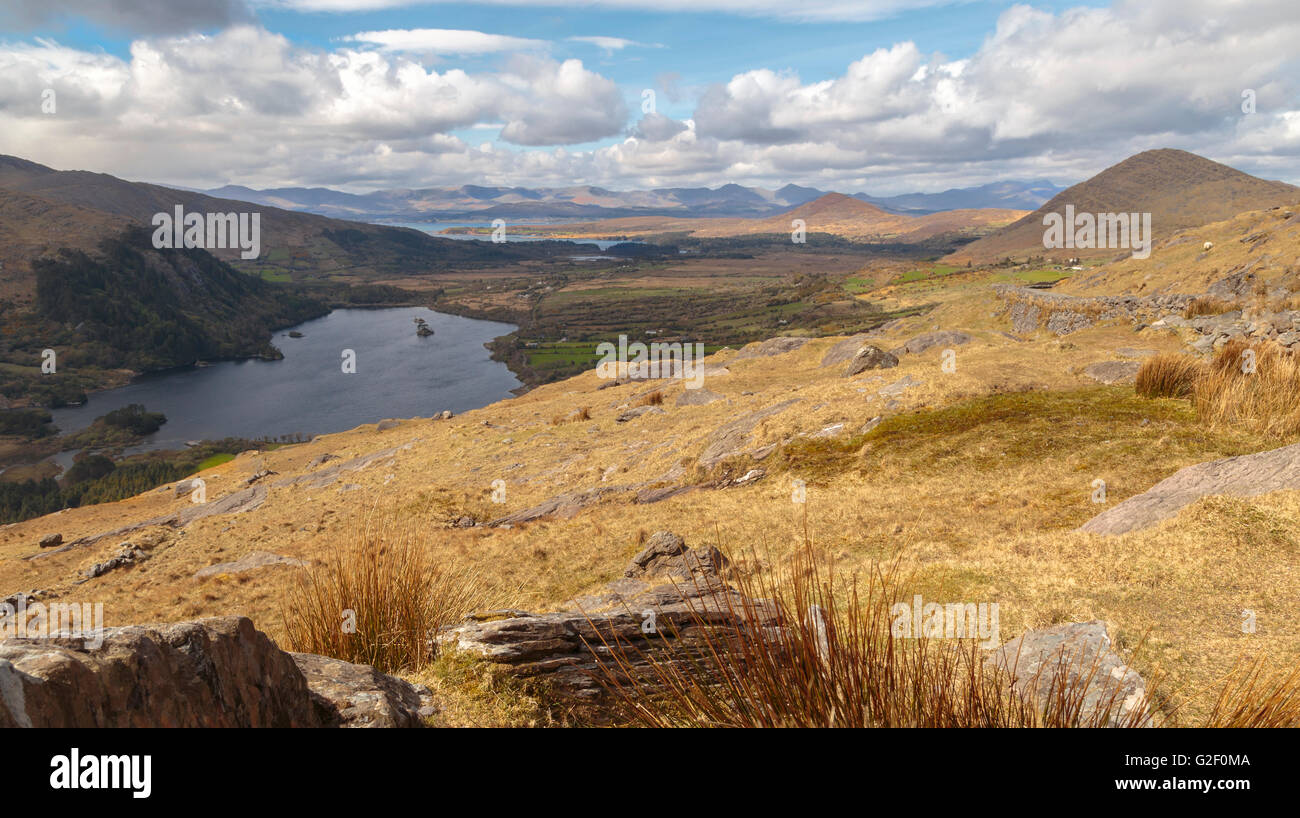 View on Glanmmore Lake and Caha Mountains from the Healy Pass, situated on Beara Peninsula in County Kerry, Munster, - Stock Image