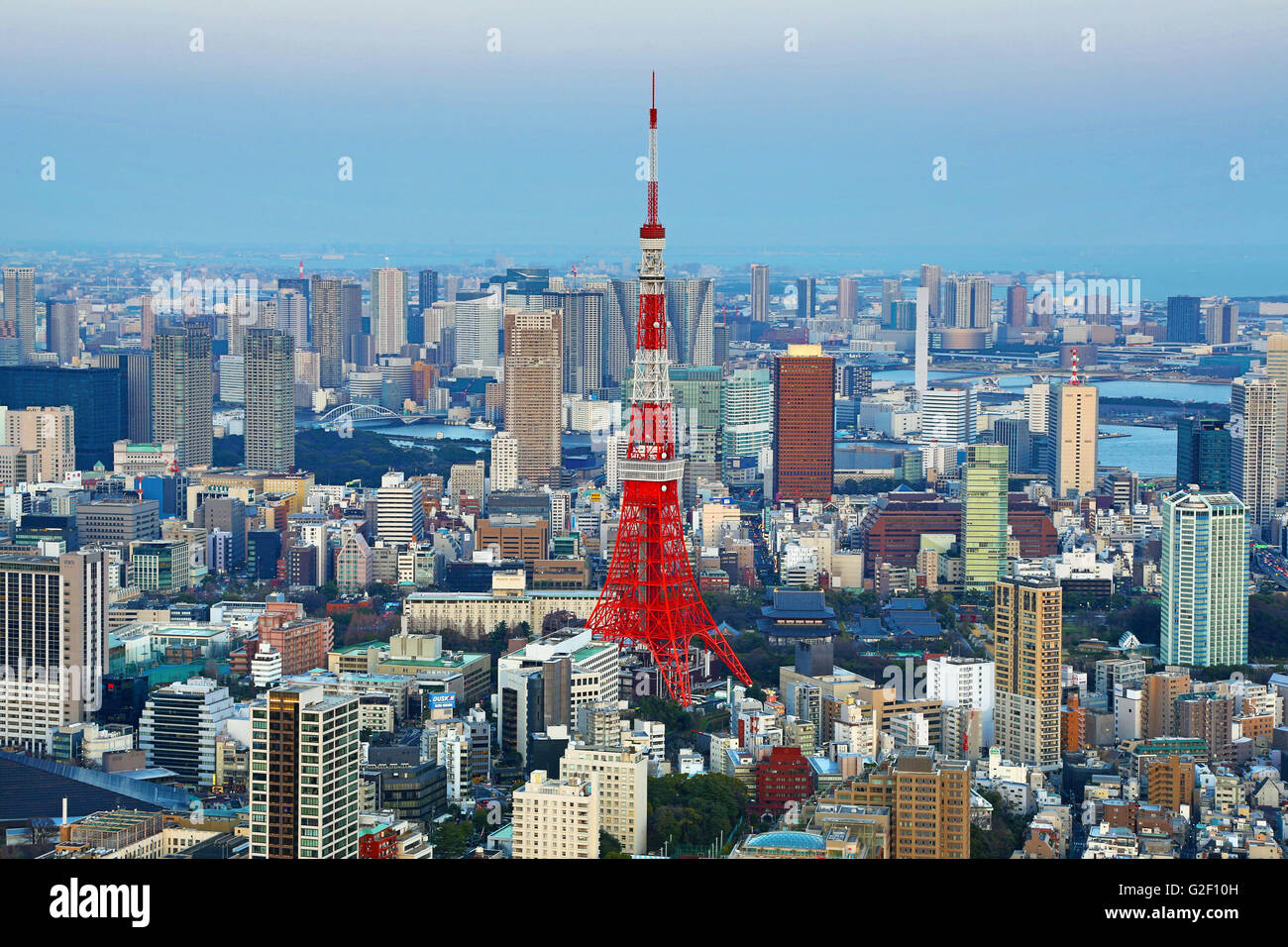 General city skyline evening view with the Tokyo Tower of Tokyo, Japan - Stock Image