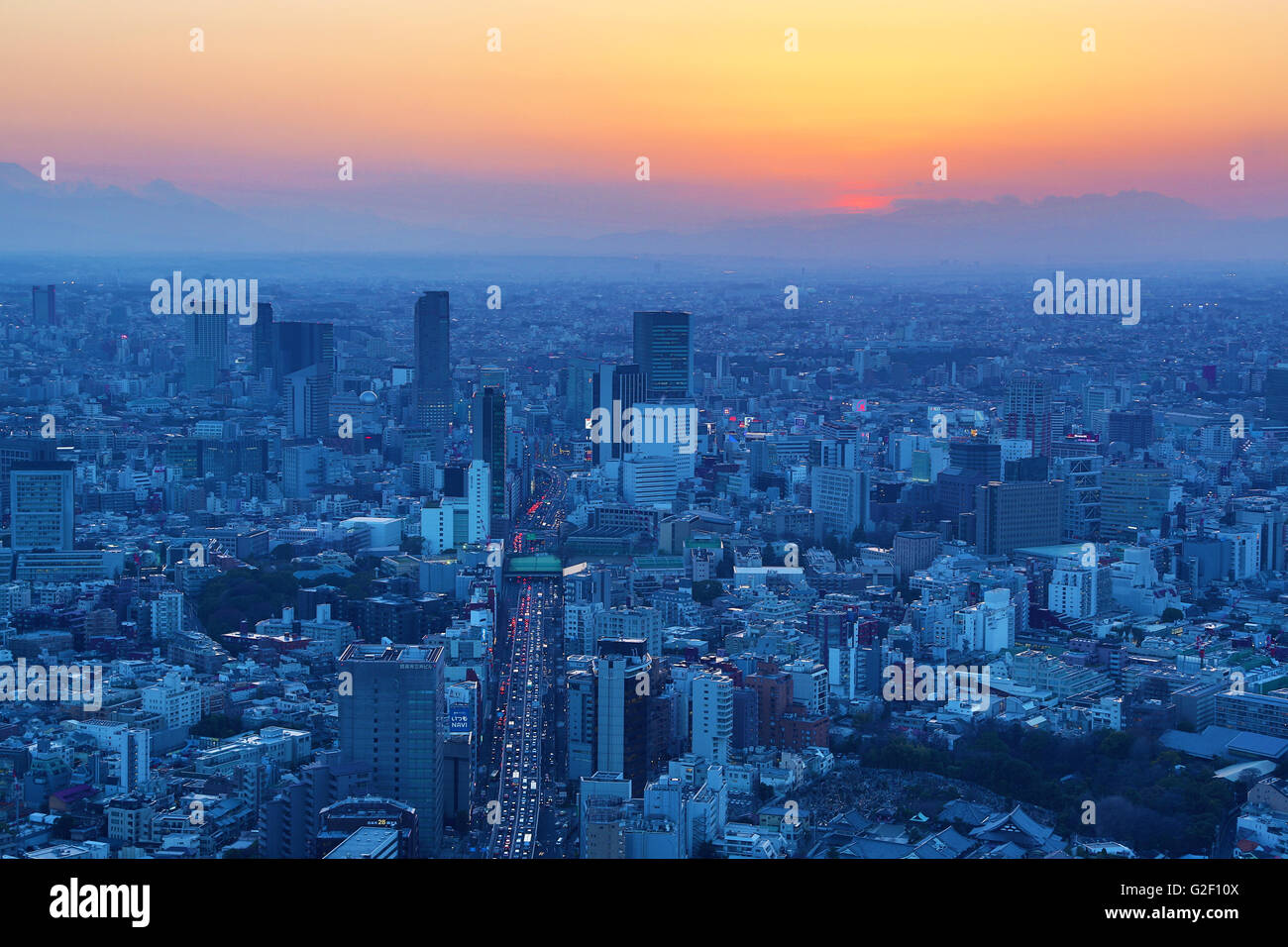 General city skyline sunset view of Tokyo, Japan - Stock Image