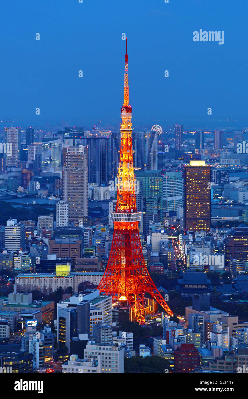 General city skyline night view with the Tokyo Tower of Tokyo, Japan - Stock Image