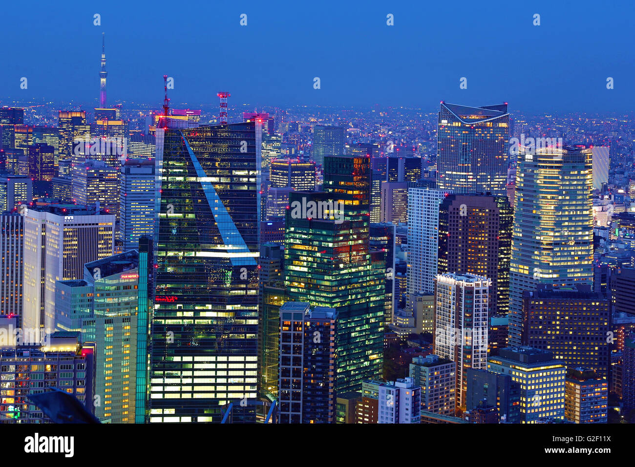 General city skyline evening view of Tokyo, Japan - Stock Image